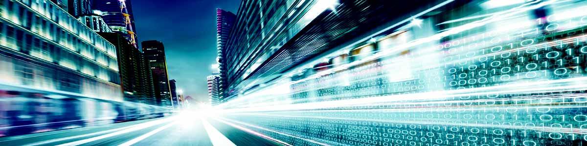 iMeta Technologies city street-with-fast-digital-technology information binary code motion blurred.